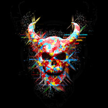 Colorful Demon Skull - Abstract 3D Illustration