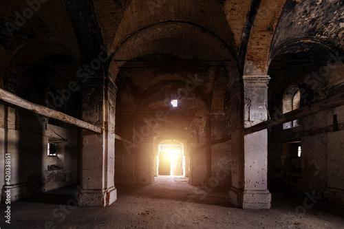 Obraz Interior of dark creepy abandoned lutheran church of the Virgin Mary - fototapety do salonu