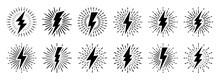 Set Of Vintage Lightning Bolts And Sun Rays Isolated On White Background. Lightnings With Sunburst Effect. Thunderbolt, Electric Shock Sign. Vector Illustration.
