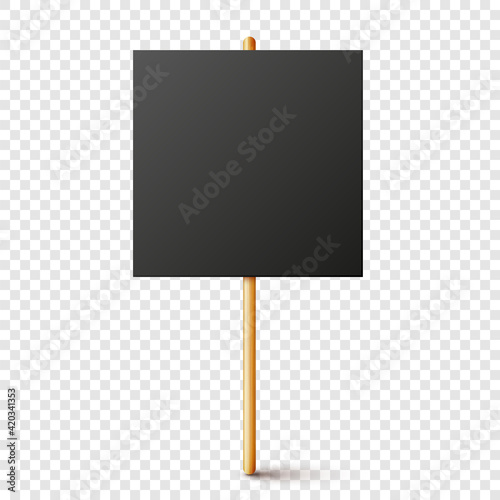 Stampa su Tela Blank black protest sign with wooden holder