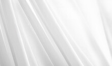 White Cloth Texture Background.  White Curtains, Rippled White Silk Fabric Concept