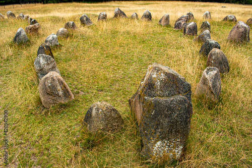 Stampa su Tela Lindholm Hoje viking graves in circle, an ancient viking burial site place in Ju