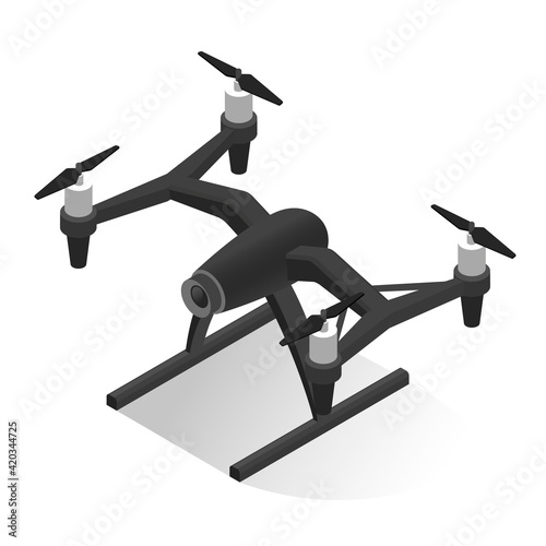 Fotografia Electric security surveillance drone vector isometric illustration flying aerial