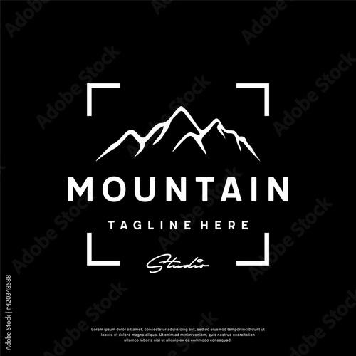 Fototapeta Mountain Landscape with Focus Square Lens Frame for Adventure Outdoor logo design template, vector illustration