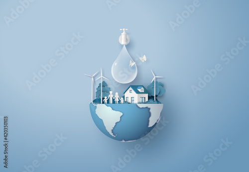 concept of ecology and world water day Wallpaper Mural