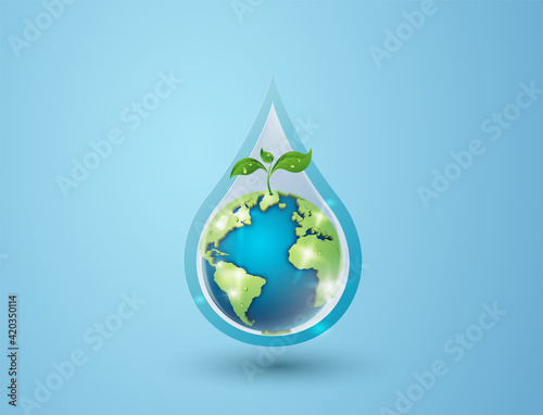 Fototapeta concept of ecology and world water day . Paper art ,paper cut , paper collage style with digital craft . obraz