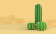Abstract Concept On The Topic Of The Male Penis. Three Different Spiked Cacti Grow Out Of The Sand In The Desert. Infertility And Abstinence. 3d Illustration