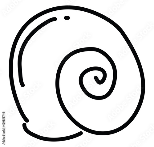 Sea shell drawing, illustration, vector on a white background Fototapet