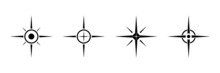 Black North Sign Vector Set. Compass Direction Symbol For Mapping.