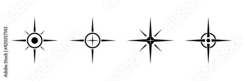 Fototapeta Black north sign vector set. Compass direction symbol for mapping. obraz