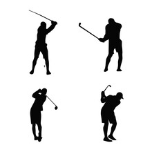 Golf Athlete Silhouettes Collection