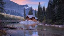Cafe At Scenic Emerald Lake Under Twilight