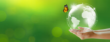 Human Holding Earth And Butterfly Over Green Blur Background. World Environment And Green Concept. Copy Space.