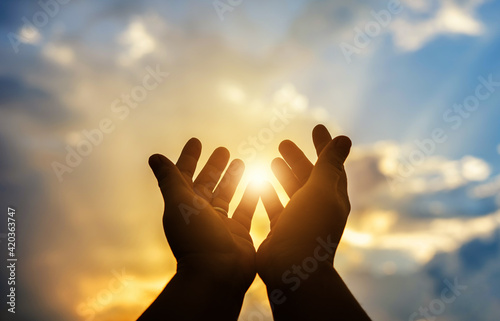 Human hands open palm up worship. Eucharist Therapy Bless God Helping Repent Catholic Easter Lent Mind Pray. Christian Religion concept background. fighting and victory for god - fototapety na wymiar