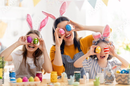 Happy family are preparing for Easter
