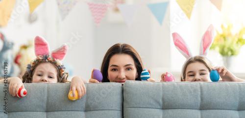 Obraz na plátně Family celebrating Easter.