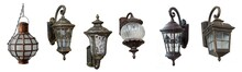 Home Outdoor Lamps With Fastening. Set. Isolated Over White Background.