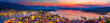 canvas print picture - Panoramic view of greek town Poros at sunset, Greece