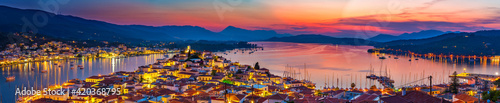 Panoramic view of greek town Poros at sunset, Greece