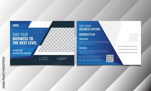 Fototapeta PostCard Template, Vector Template for Opening Invitation Editable. Postcard design, Corporate Professional Business Postcard Design, Event Card Design, Invitation Design, Direct Mail EDDM Template obraz