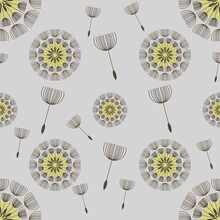 Dandelion Seed Heads And Flying Seeds Seamless Pattern