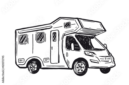 Obraz na plátne Camper Van sketch style, vector illustrations.
