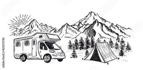 Camping in nature, motor home, Mountain landscape, hand drawn style, vector illustrations Fototapet