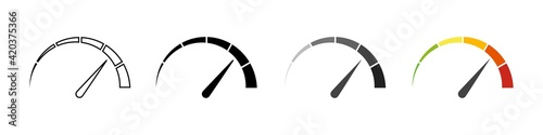Gauge icons. Speedometer vector isolated signs. Customer satisfaction indicator level. Risk level gauge. Stock vector