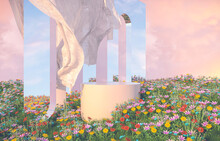 Natural Beauty Podium Backdrop With Spring Flower Field Scene. 3d Rendering.
