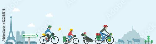 Fotografie, Obraz Voyage à vélo en famille - Family bicycle trip