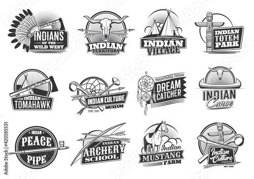Slika na platnu Indian native Americans icons, Wild West culture