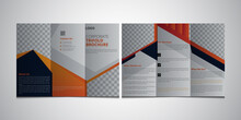Real Estate Modern Brochure Design For Your Business. Triangle Orange Black Red Elegance Business Trifold Business Leaflet Brochure Flyer Template Vector Minimal Flat Design Set