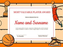 Certificate For Basketball Most Valuable Player