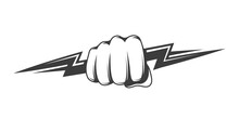 Fist And Zipper Isolated On White Background