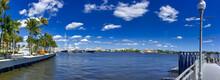 WEST PALM BEACH, FL - FEBRUARY 2016: Beautiful Lake With City Skyline On A Sunny Winter Day