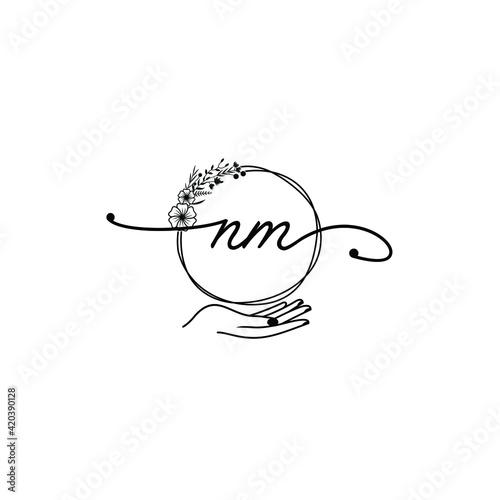 NM beautiful Initial handwriting logo template