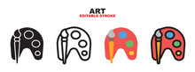Art Icon Set With Different Styles. Editable Stroke And Pixel Perfect. Can Be Used For Web, Mobile, Ui And More.