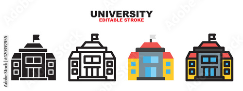 Canvas-taulu University icon set with different styles