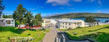 AKUREYRI, ICELAND - AUGUST 7, 2019: Akureyri Panoramic View With City Buildings