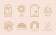 Collection of line design with sun,sea,wave.Editable vector illustration for website, sticker, tattoo,icon