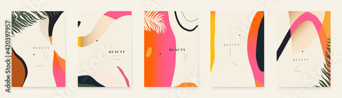 Tropical abstract organic shapes background templates. Modern summer backgrounds.