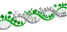 Vector Illustration Of DNA Interweaving Of Human Life And Industry With Nature. Creative Design Element For Environmental Concepts. Set Of Simple Eco Icons