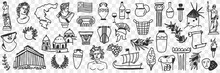 Symbols Of Ancient Culture Doodle Set. Collection Of Hand Drawn Greek Sculptures Buildings Arch Gods Ships Musical Instruments Masks For Theatre From Historical Times On Transparent Background