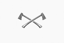 Silhouette Lumberjack Axes Crossed As Symbol Of Logging Industry In Nature Hand Drawn Stamp Effect Vector Illustration