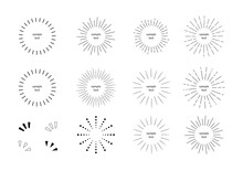あしらい 放射線 集中線 太陽光 円形 イラスト セット/シンプルでベーシックな素材