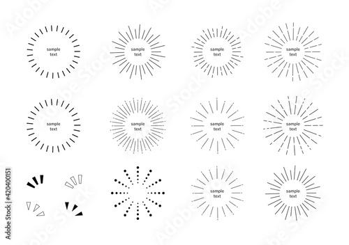Leinwand Poster あしらい 放射線 集中線 太陽光 円形 イラスト セット/シンプルでベーシックな素材