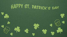 St Patricks Day Green Paper Background With Paper Shamrock And Beer Mugs