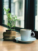 The Hot Cappuccino Cup, Decorated With Milk Foam And Sprinkled With Coffee Powder, Gives A Very Pleasant Feeling To Drink With Copy Space