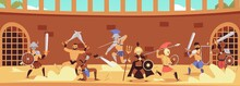 Gladiator Warriors Fight In Arena Colosseum For Freedom Illustration