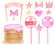 Watercolor Birthday Cake Set. Cute Biscuit Cake With Pink Glaze, Toppers, Stars, Bows, Crowns. Hand Drawn Kids Party Dessert Ilustration Isolated On White Background.